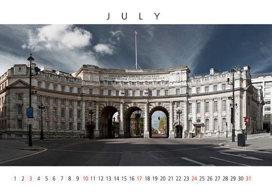London Wall Calendar, July, Admirals Arch