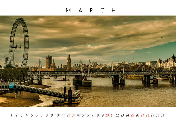 Thames View, London Eye, London Calendar 2017, March