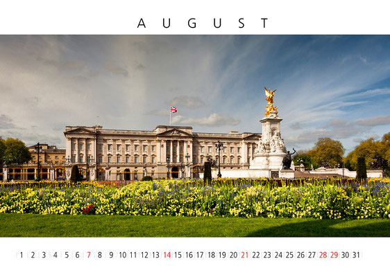 Wall Calendar London, August, Buckingham Palace