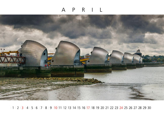 Flood Barrier, London Calendar 2017, April