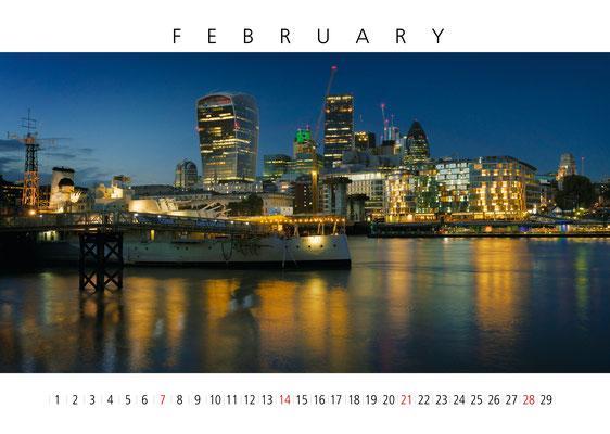 HMS Belfast, London Calendar 2017, February