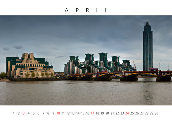 Wall Calendar London, April, Vauxhall Bridge