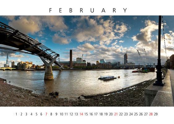 London Calendar, February, Millennium Bridge and Modern Tate