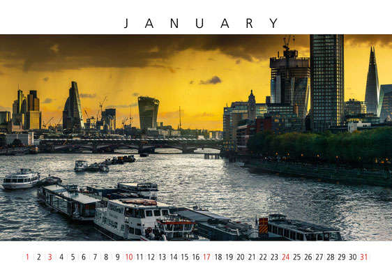 Thames View, London Calendar 2017, January