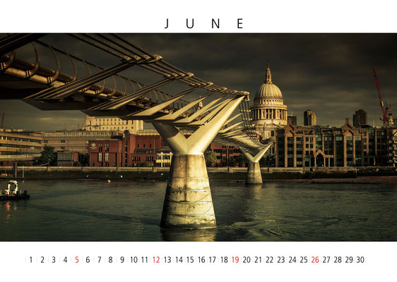 Millennium Bridge, London Calendar 2017, June