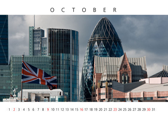 Wall Calendar London, October, 30 St Mary Axe