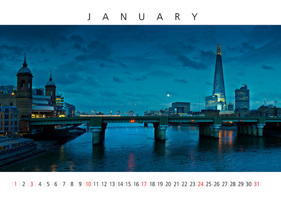 Calendar London 2016, January, The Shard