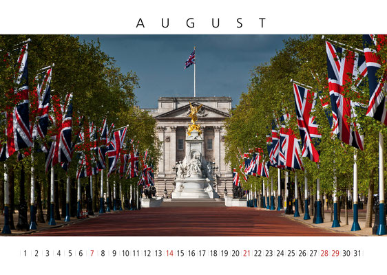 The Mall, London Calendar 2017,  August