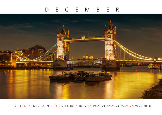 Tower Bridge, London Calendar 2017, December