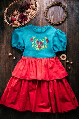 льняное платье для девочки, платье с вышивкой, платье для малышки