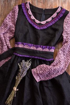 платье в русском стиле, льняное платье, платье изо льна, натуральный лён