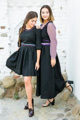 льняное платье, платье в русском стиле, черное платье