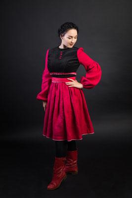 платье в русском стиле, русское платье, одежда в русском стиле, красное платье
