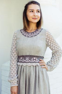 платье льняное с вышивкой, русский стиль