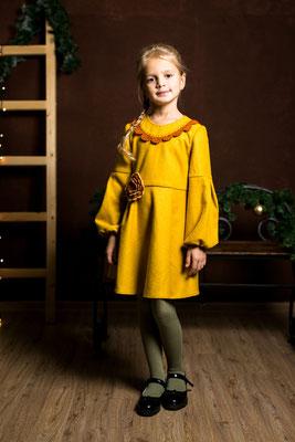 mustard girls dress, горчичное платье для девочки, платье от дизайнера, платье в русском стиле