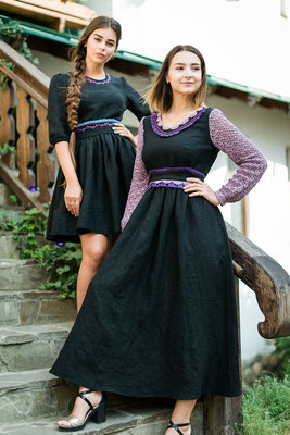 платье с длинным рукавом, платье на осень, платье в пол, длинное льняное платье