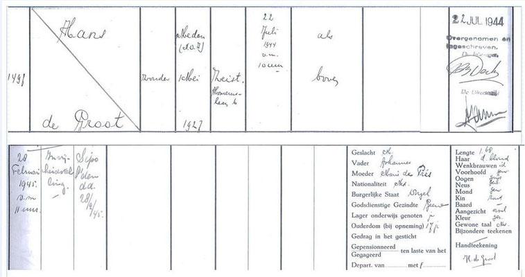 Inschrijving Nico Frijda alias Hans de Groot in registerboek van de gevangenis.