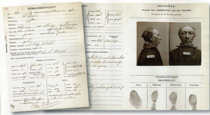 Signalementskaart uit Veenhuizen