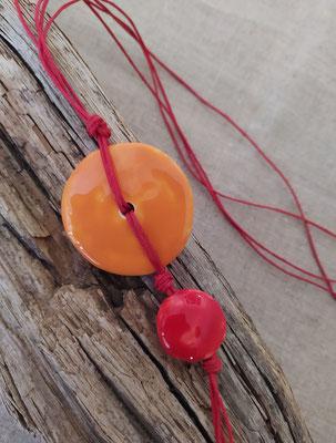 Collier Bahia orange et rouge