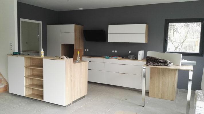 Du gris Ardoise dans la cuisine (installation des linéaires et de l'électroménager) #1