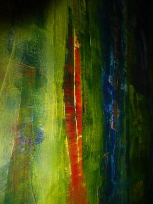 Ausschnitt aus: Bodil Edmar-Kerstin: Grünes Blut. Acryl auf Leinwand.