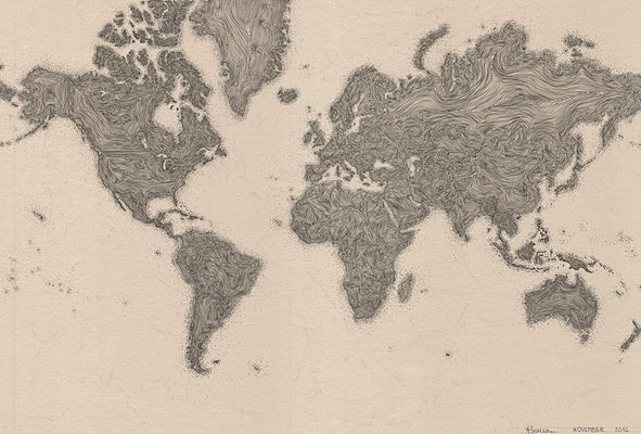 World Map. 2016.   50x70cm
