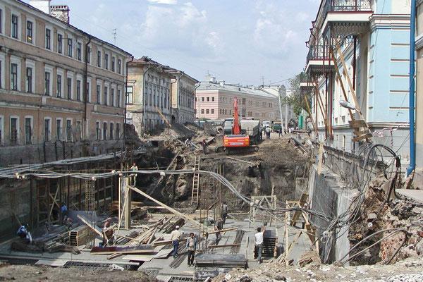 Die Bauman-Straße während der U-Bahn-Bauarbeiten 2005