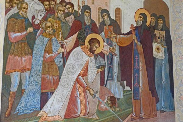 Wandgemälde: Sergius segnet den Fürsten Dmitri Donskoi.