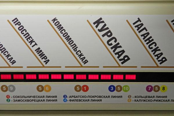 Eketronische Anzeige in einem Metro-Waggon der Moskauer Ringlinie