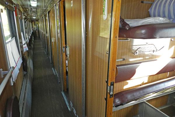Ältere Schlafwagen aus Sowjetzeiten sind vielfach noch im Einsatz.