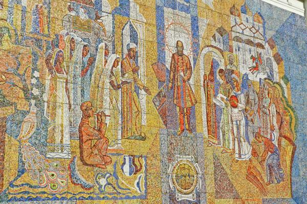Ein Mosaik erinnert an die Kontakte der Fürsten von Twer nach Mittelasien.