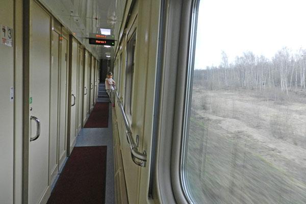 Auch der Korridor des Zuges sieht ordentlich aus
