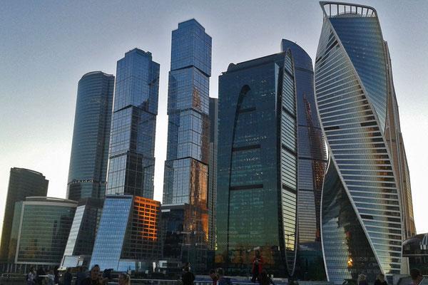 Sechs der sieben höchsten Wolkenkratzer Europas stehen in der Moskau-City.