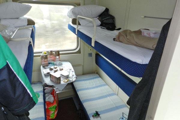 Vierbett-Abteil im Schnellzug Moskau-Adler
