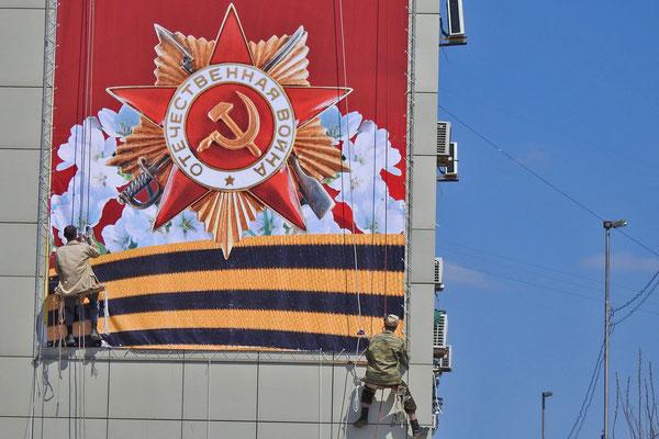 Vorbereitungen für den Siegestag auch im Zentrum von Saratow