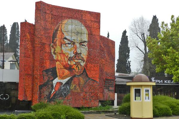 Riesiges Lenin-Mosaik am Riviera-Park von Sotschi