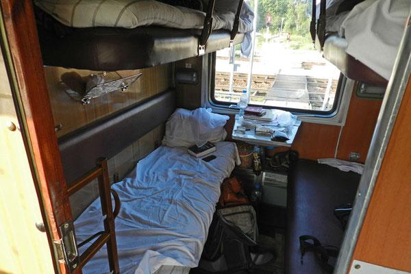 Ein 2.-Klasse-Schlafwagenabteil älterer Bauart