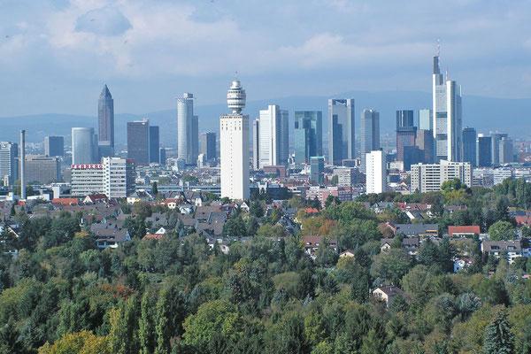 Панорама Франкфурта с деревянной смотровой башни Гететурм.