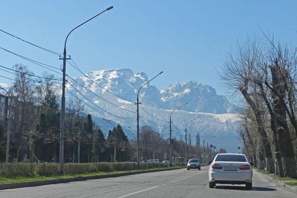 Schon am Stadtrand von Wladikawkas erheben sich die majestätischen Kaukasus-Gipfel