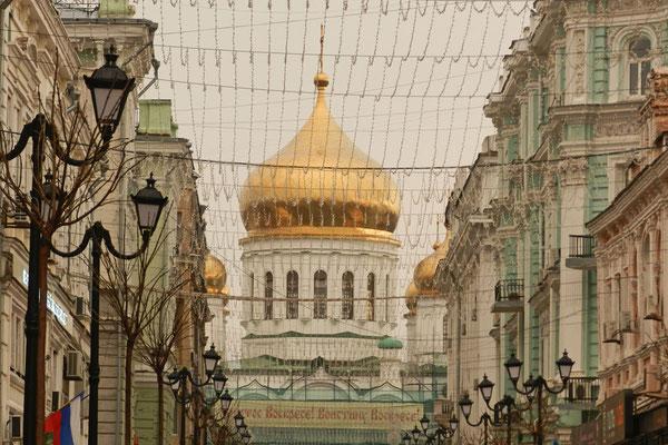 Die Kathedrale von Rostow am Don erinnert an die Moskauer Christ-Erlöser-Kirche.