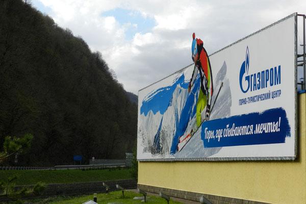 Im Gasprom-Ferienzentrum werden Träume wahr - verspricht das Plakat.