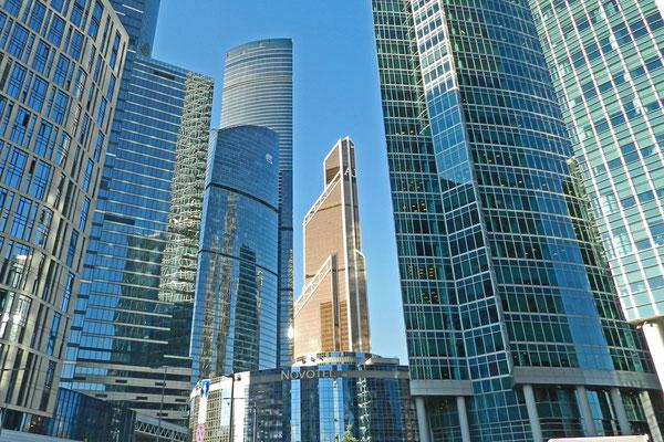 Moskaus Wolkenkratzer mit dem Merkury City Tower im Zentrum