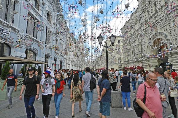 Die Nikolskaja-Straße wurde zu Moskaus WM-Fanmeile Nr. 1