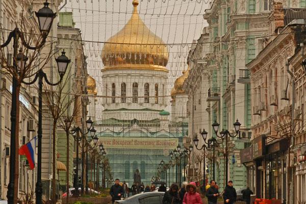 Blick von der Bolschaja Sadowaja auf die Kathedrale von Rostow