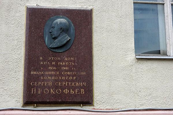Hier wohnte Sergej Prokofjew.