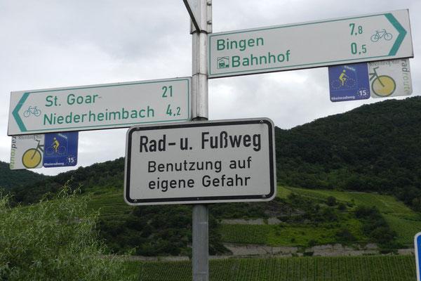 Указатели на велосипедной дороге в Рейнской долине