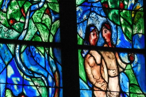 Адам и Ева на витражах церкви Св. Штефана