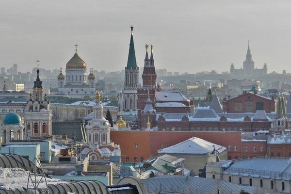 """Märchenhaftes Moskau vom Dach des Spielzeug-Kaufhauses """"Kinder-Welt"""""""