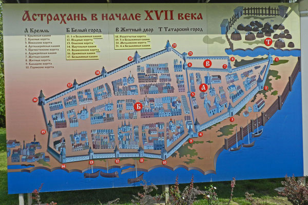 Eine Schautafel informiert über das alte Astrachan.