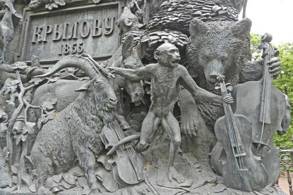 Detail-Ansicht des Krylow-Denkmals